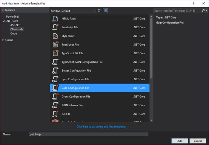 Visual Studio - Add Gulp FIle