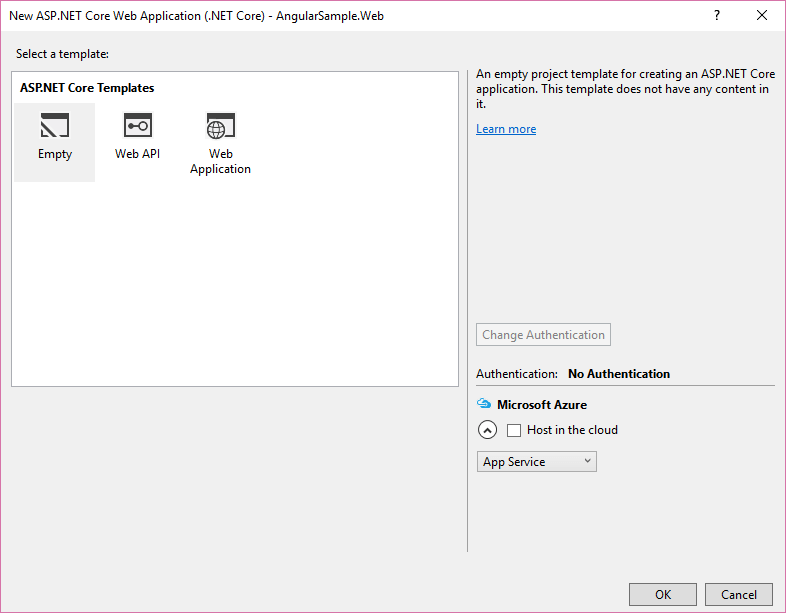 Visual Studio -> New Asp.NET Core Template