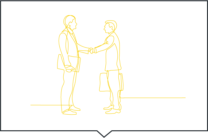 Line Drawing Hand Shake Yellow With Black Boarder