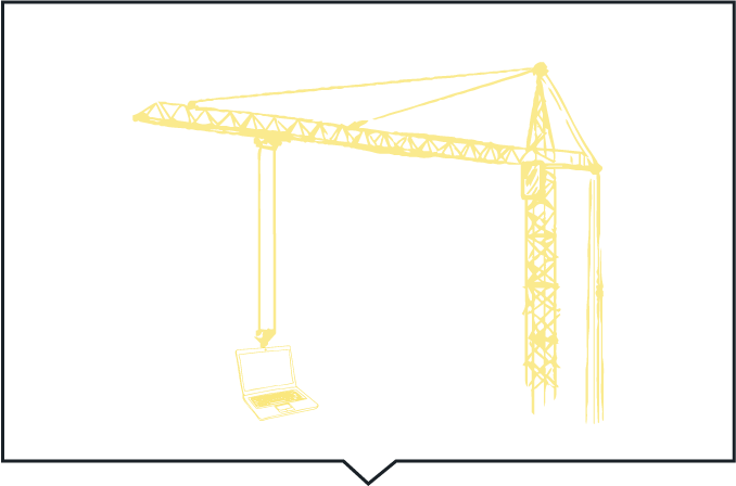 Line Drawing Crane Yellow With Black Boarder