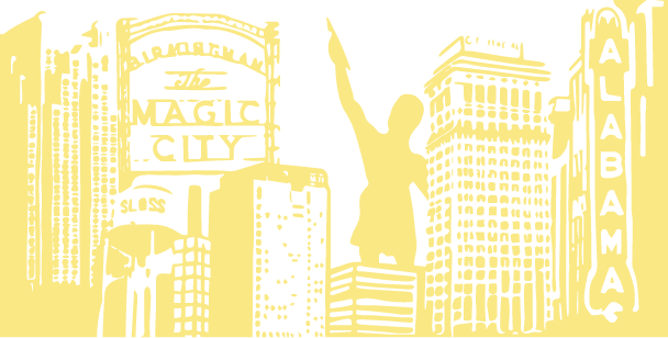 Line Drawing Birmingham Skyline Yellow