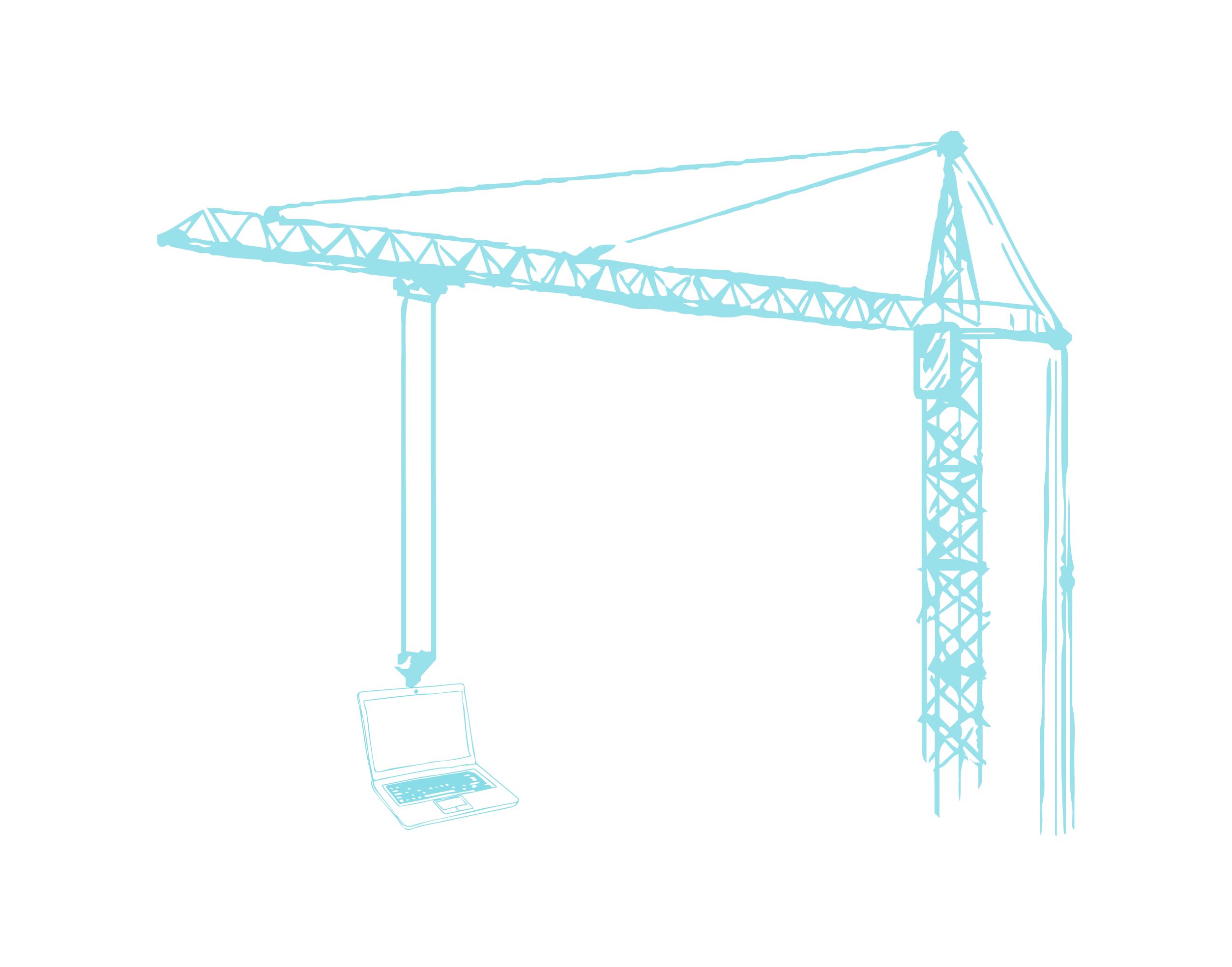 Line Drawing Crane Blue