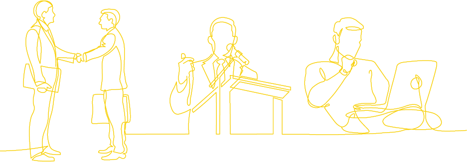 Line Drawing Business People Yellow