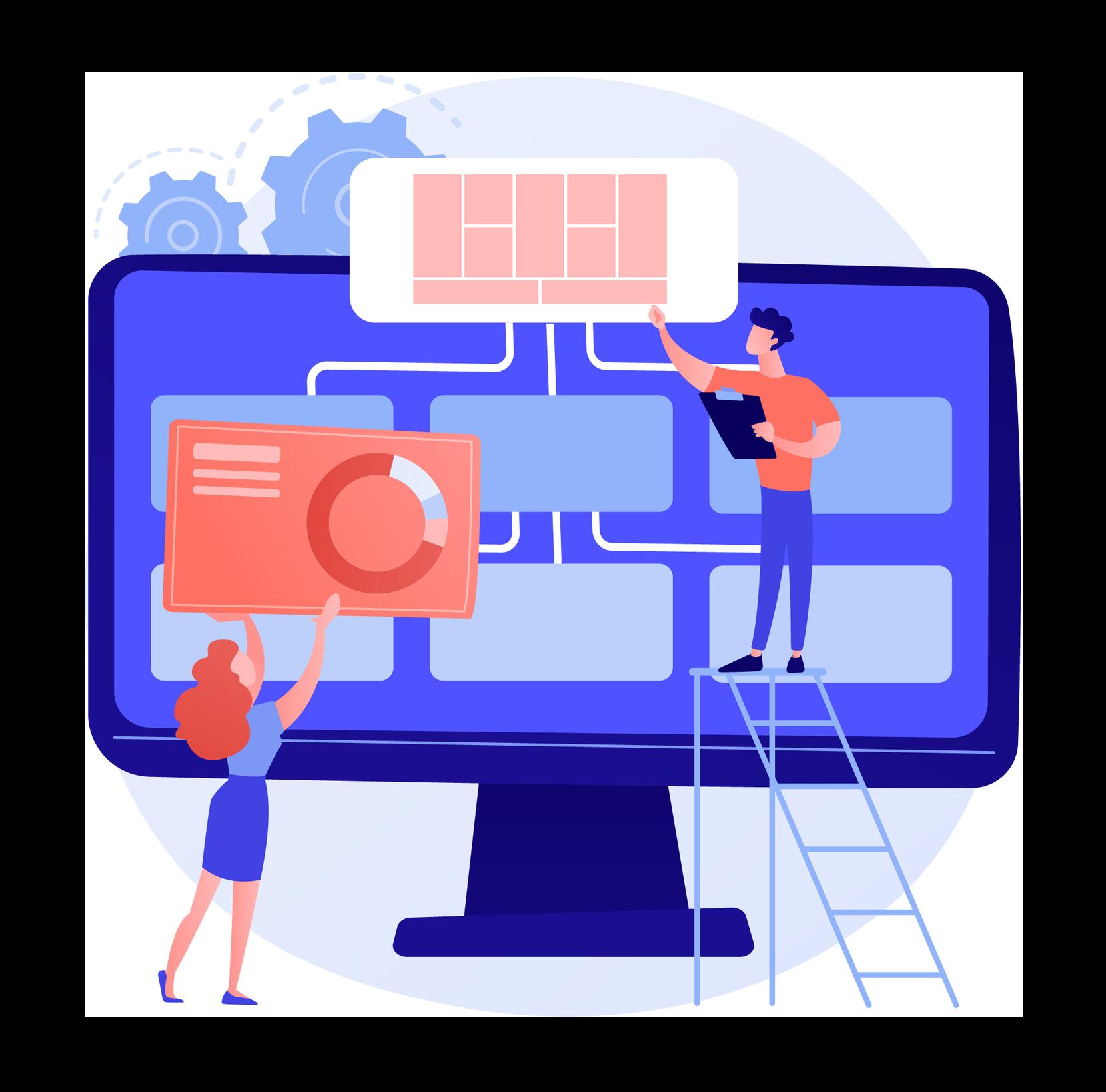 Advanced business canvas development illustration